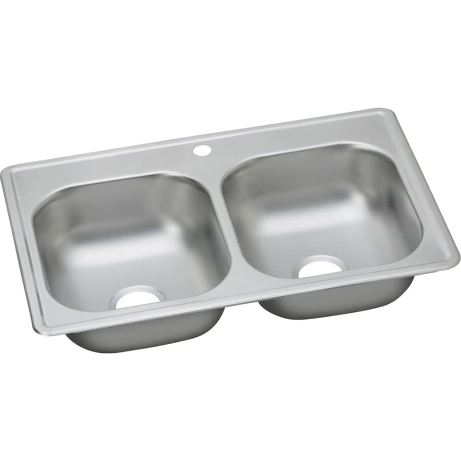 Elkay Dayton 9.94-in x 23.44-in Satin Double-Basin Stainless Steel Drop-in 1-Hole Residential Kitchen Sink