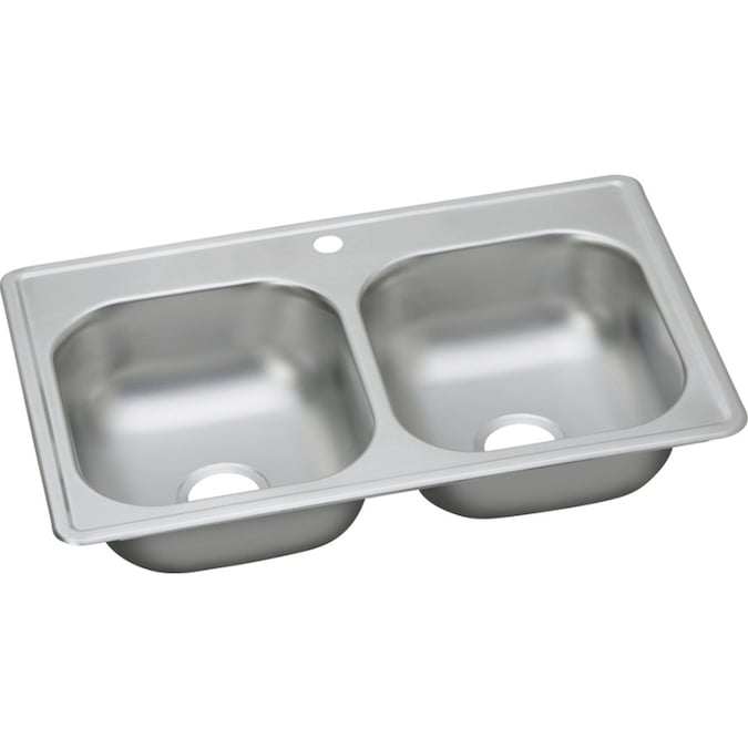 Elkay Dayton Drop In 33 In X 19 In Elite Satin Double Equal Bowl 1 Hole Kitchen Sink In The Kitchen Sinks Department At Lowes Com