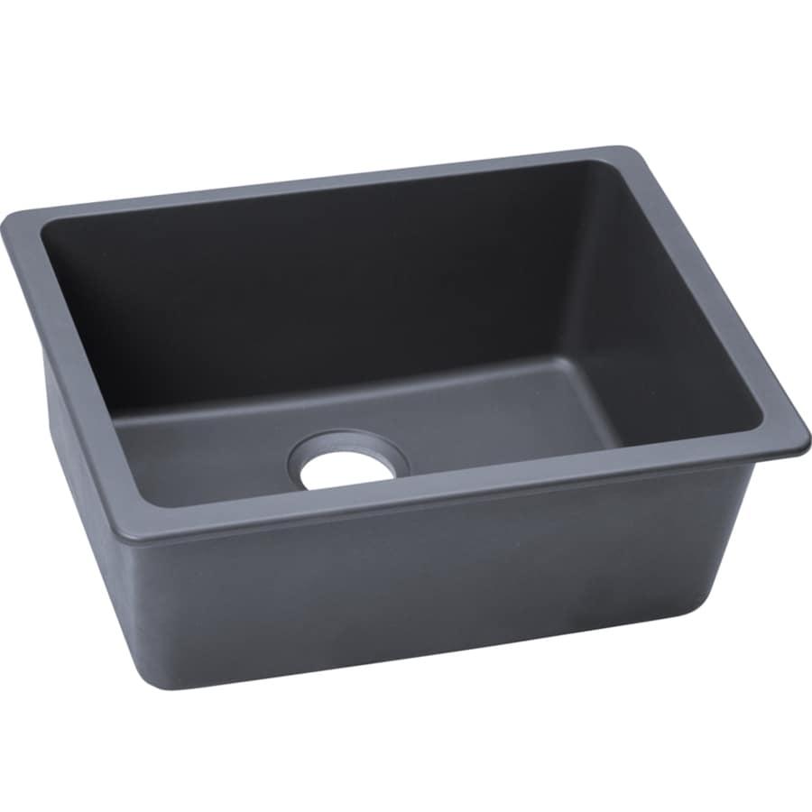 Elkay Gourmet 18.5-in x 25-in Dusk Gray Single-Basin Granite Undermount Residential Kitchen Sink