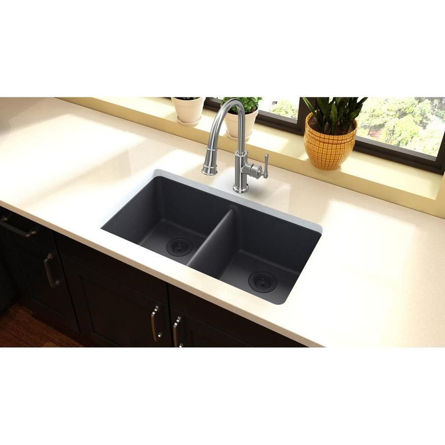 Elkay Gourmet 18.19-in x 33-in Dusk Gray Double-Basin Quartz Undermount Residential Kitchen Sink