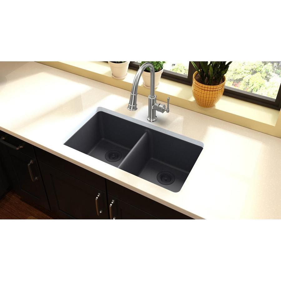 Elkay Gourmet 18.19-in x 33-in Dusk Gray Double-Basin Granite Undermount Residential Kitchen Sink