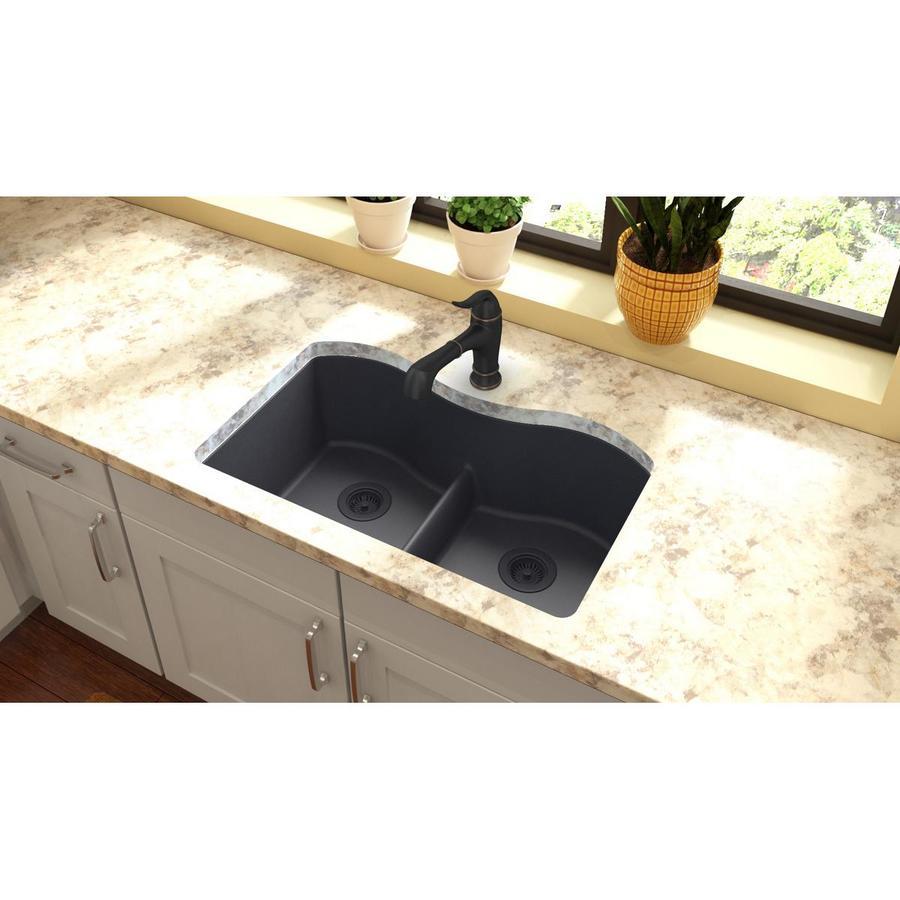 Elkay Harmony 20.13-in x 33-in Dusk Gray Double-Basin Granite Undermount Residential Kitchen Sink