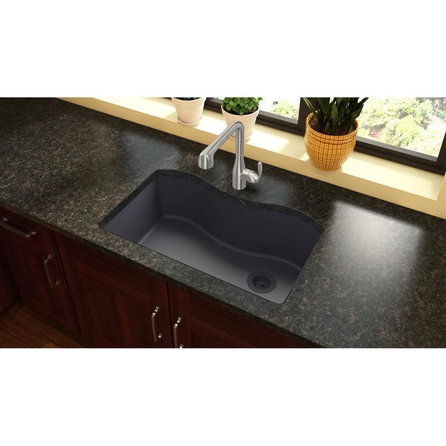 Elkay Harmony 20-in x 33-in Dusk Gray Single-Basin Quartz Undermount Residential Kitchen Sink