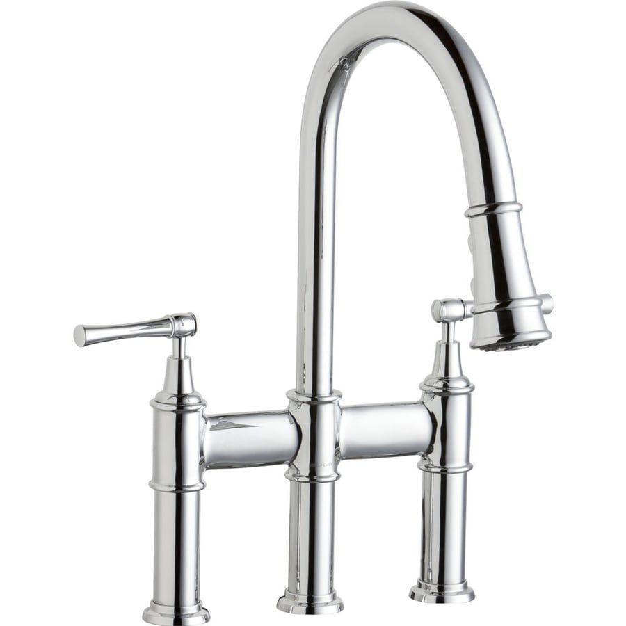 Elkay Explore Chrome 2 Handle Deck Mount Pull Down Kitchen Faucet At