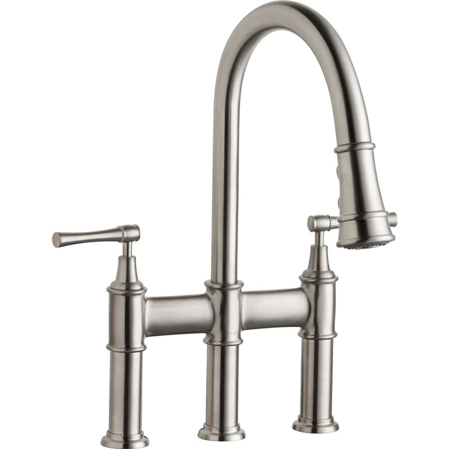 2 handle pull down kitchen faucet shop elkay explore lustrous steel 2 handle deck mount pull 26286