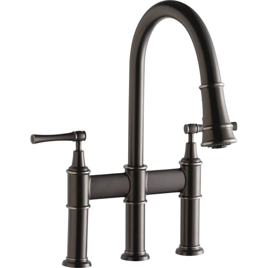 Elkay Explore Antique Steel 2 Handle Deck Mount Pull Down Kitchen Faucet