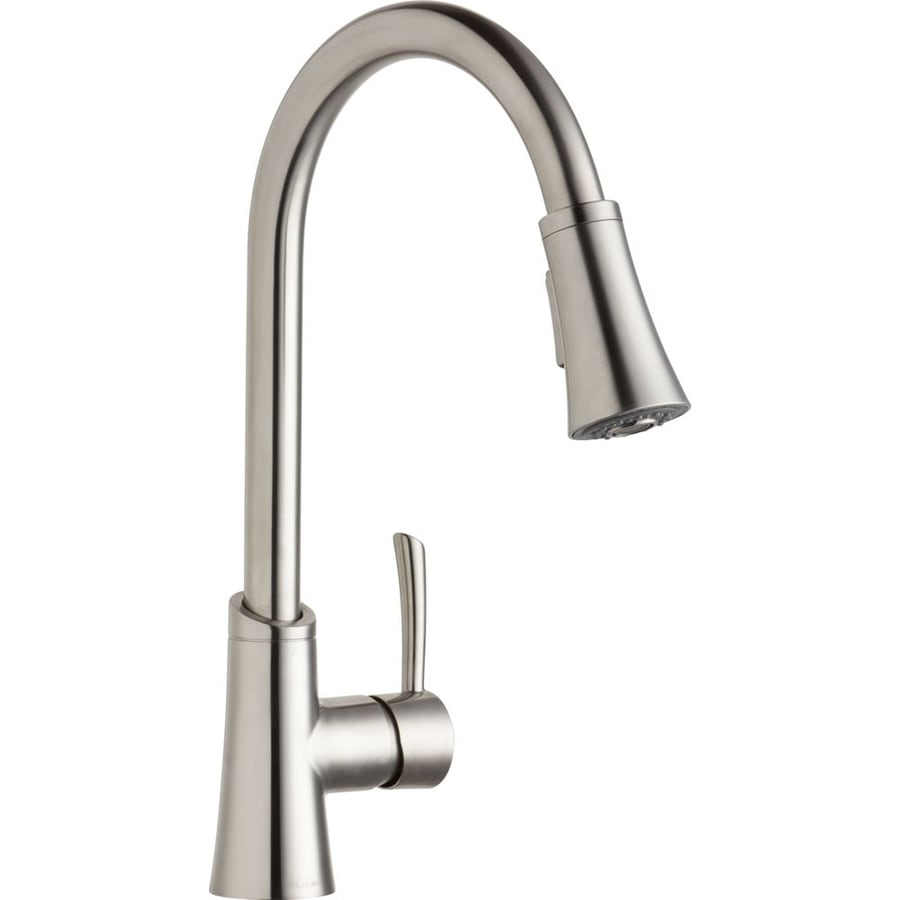 shop elkay gourmet lustrous steel 1 handle pull down shop elkay avado chrome 1 handle pre rinse kitchen faucet