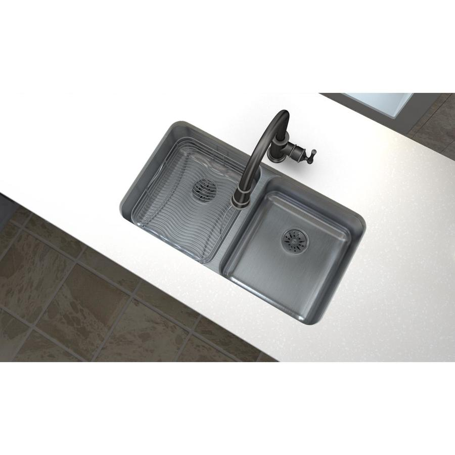 Elkay Gourmet 18.5-in x 30.75-in Double-Basin Stainless Steel Undermount Residential Kitchen Sink