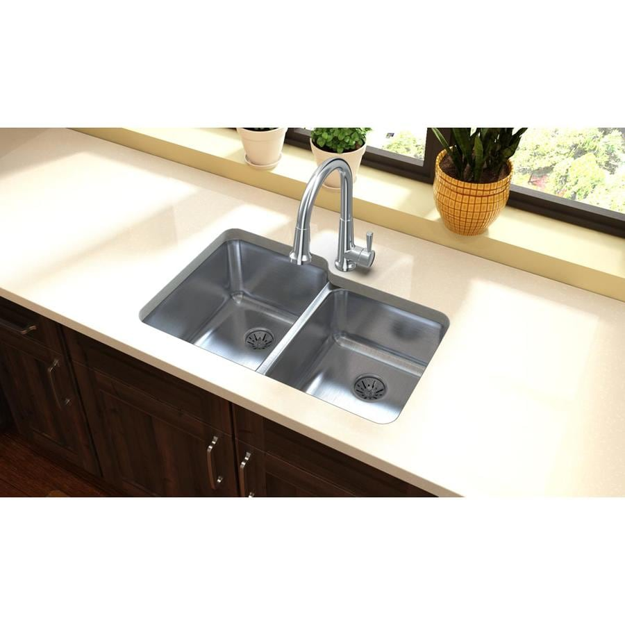 Elkay Gourmet 20.5-in x 31.25-in Lustrous Highlighted Satin Double-Basin Stainless Steel Undermount Residential Kitchen Sink