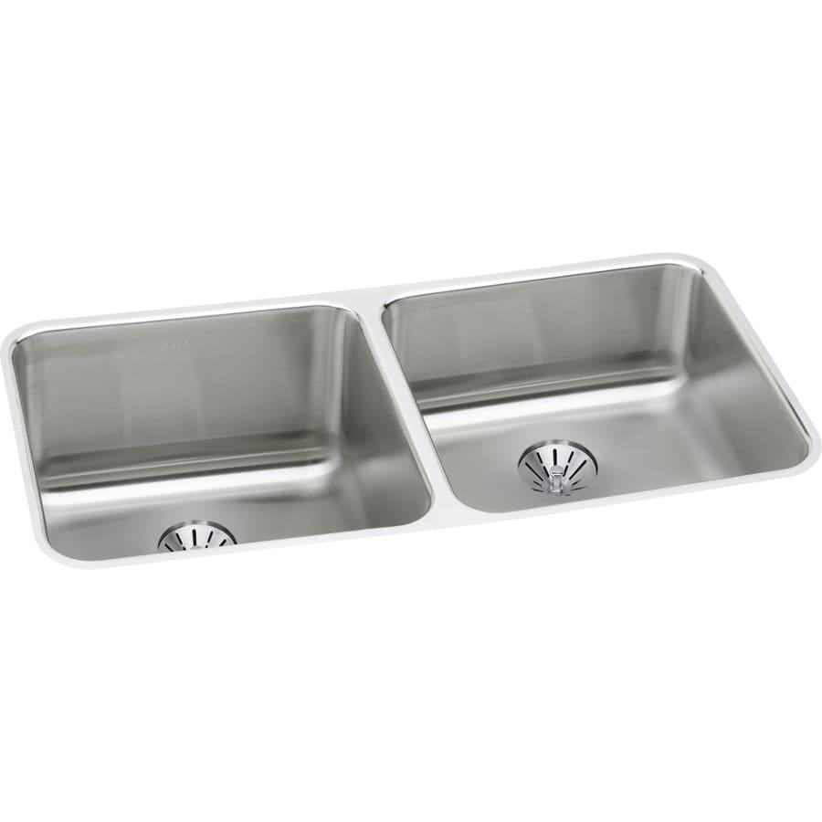 Elkay Gourmet 18.5-in x 30.75-in Stainless Steel Double-Basin Undermount Residential Kitchen Sink
