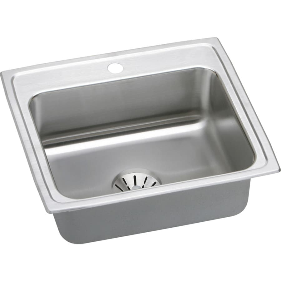 Elkay Gourmet 19.5-in x 22-in Stainless Steel Single-Basin-Basin Stainless Steel Drop-in 1-Hole Residential Kitchen Sink