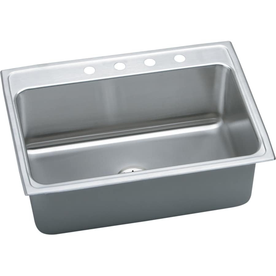Elkay Gourmet 22-in x 31-in Lustrous Highlighted Satin Single-Basin Drop-in 4-Hole Residential Kitchen Sink