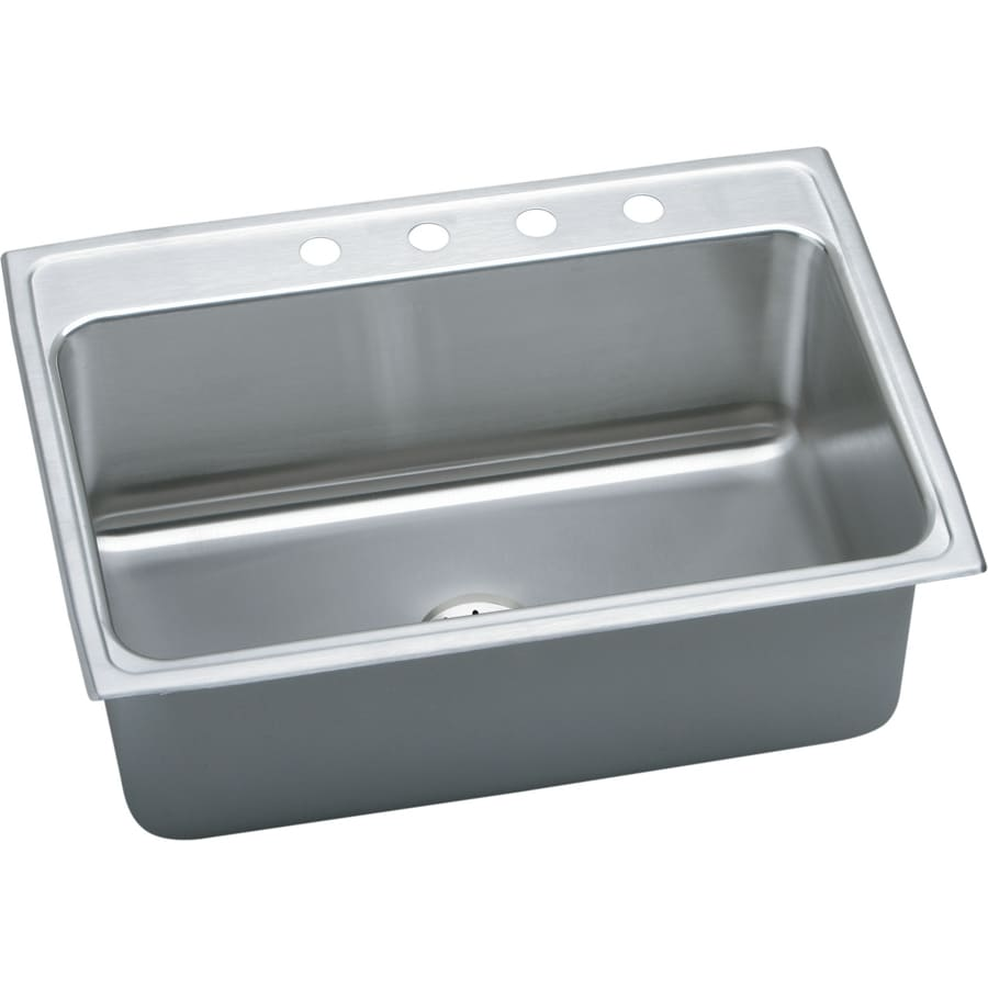 Elkay Gourmet 22-in x 31-in Lustrous Highlighted Satin Single-Basin Stainless Steel Drop-in 5-Hole Residential Kitchen Sink