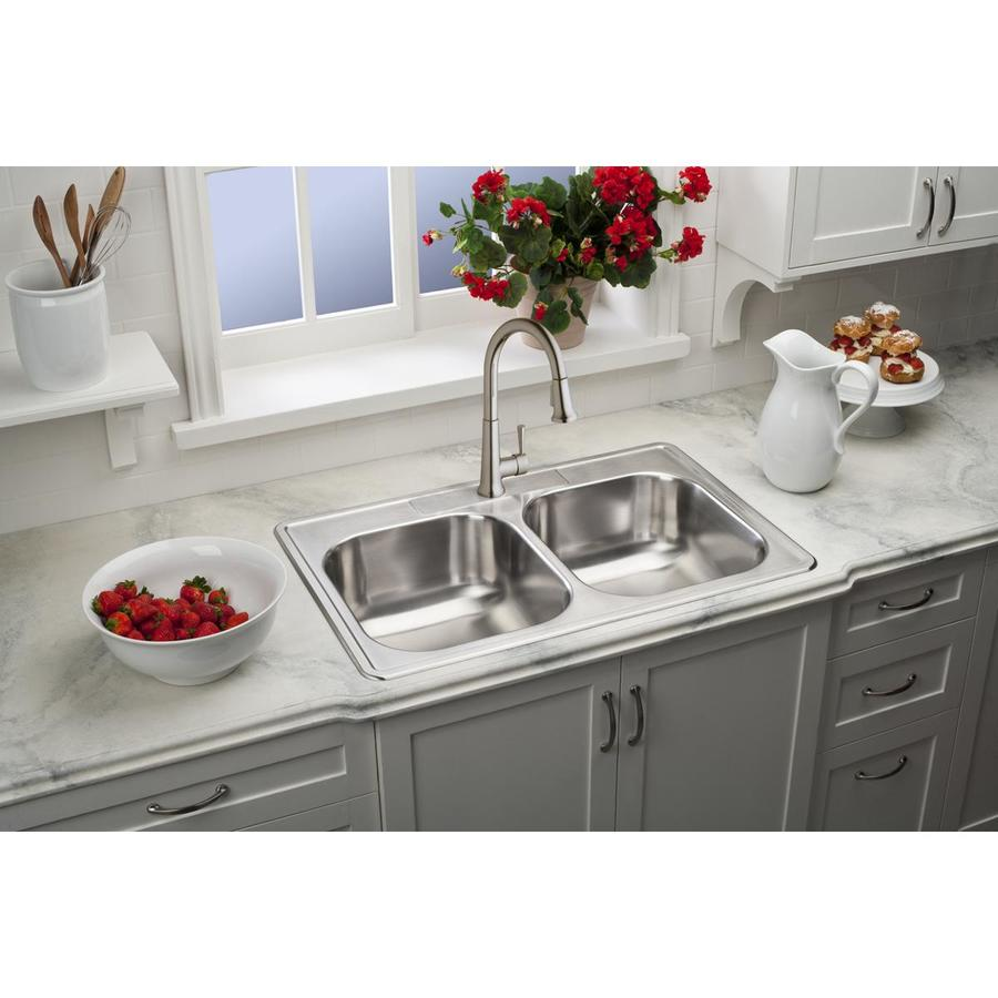 Elkay Gourmet 22-in x 33-in Lustrous Highlighted Satin Double-Basin Stainless Steel Drop-in 4-Hole Residential Kitchen Sink