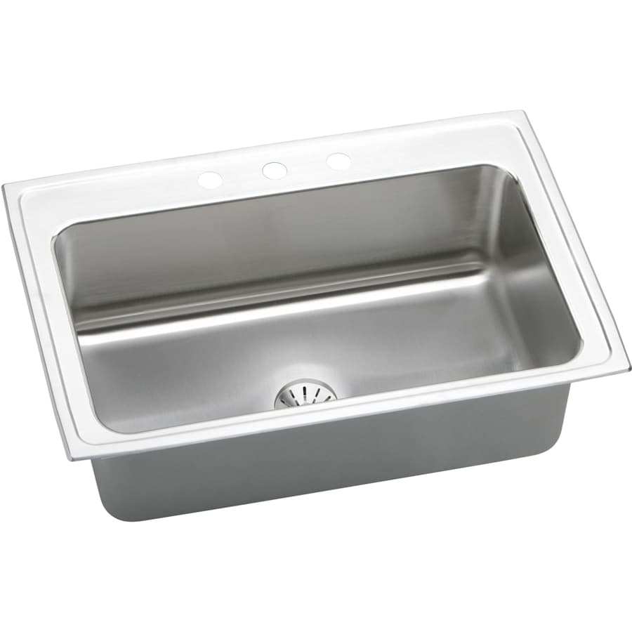 Elkay Gourmet 22-in x 33-in Lustrous Highlighted Satin Single-Basin Drop-in 3-Hole Residential Kitchen Sink