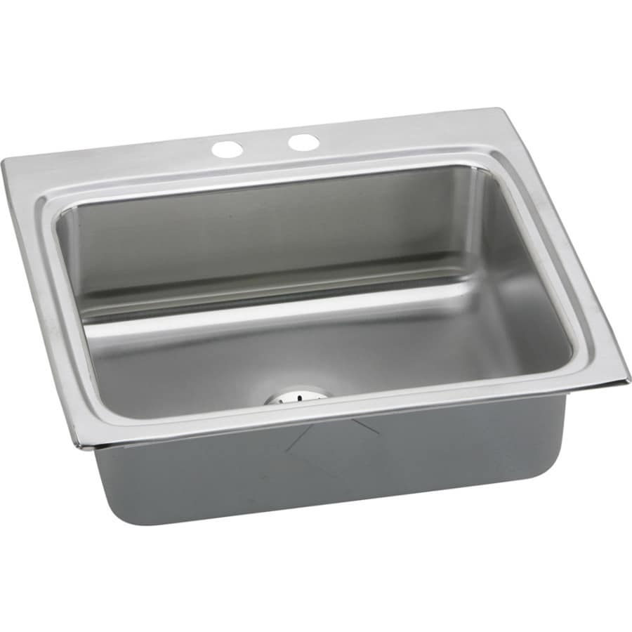 Elkay Gourmet 22-in x 25-in Lustrous Highlighted Satin Single-Basin Stainless Steel Drop-in 2-Hole Residential Kitchen Sink