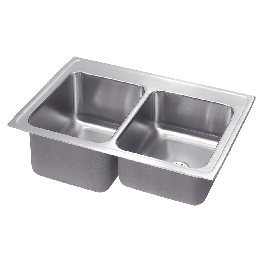 Elkay Gourmet 22-in x 33-in Lustrous Highlighted Satin Double-Basin Stainless Steel Drop-in Residential Kitchen Sink