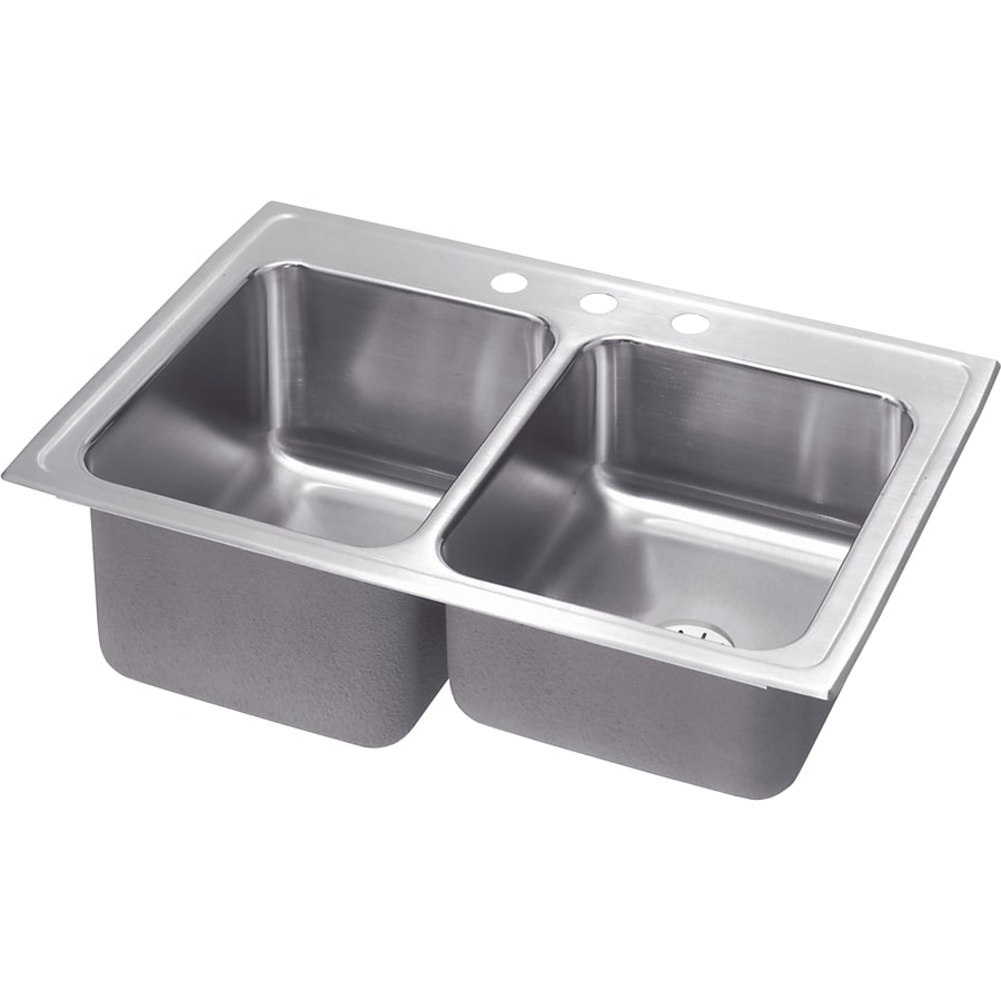 Elkay Gourmet 22-in x 33-in Lustrous Highlighted Satin Double-Basin Stainless Steel Drop-in 1-Hole Residential Kitchen Sink