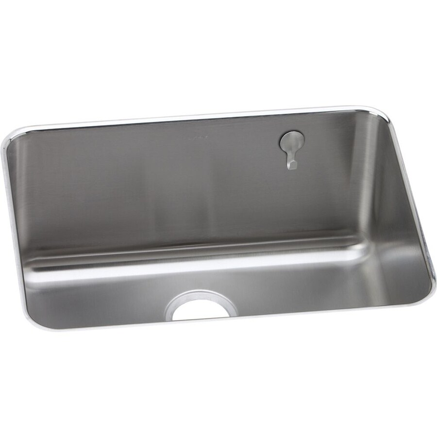 Elkay Gourmet 18.75-in x 25-in Lustrous Highlighted Satin Single-Basin-Basin Stainless Steel Undermount (Customizable)-Hole Residential Kitchen Sink