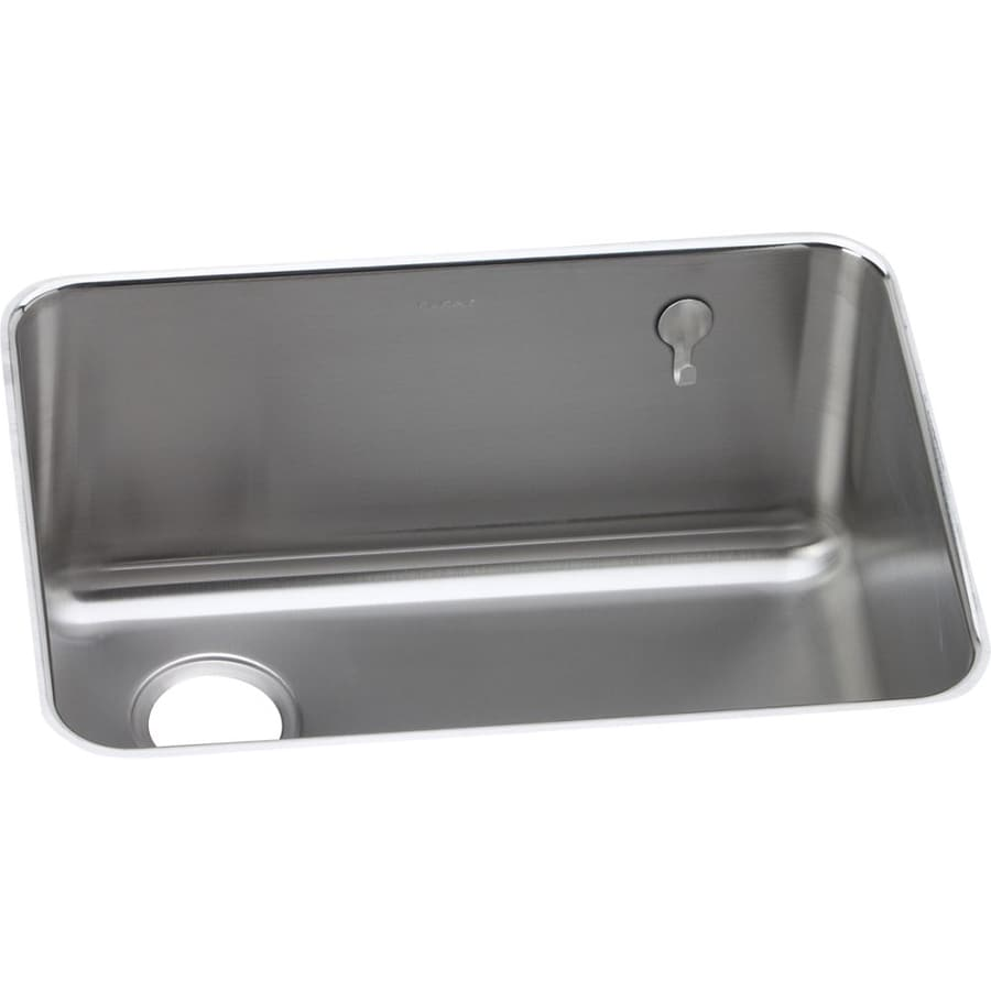 Elkay Gourmet 18.75-in x 25-in Lustrous Highlighted Satin Single-Basin Stainless Steel Undermount Residential Kitchen Sink