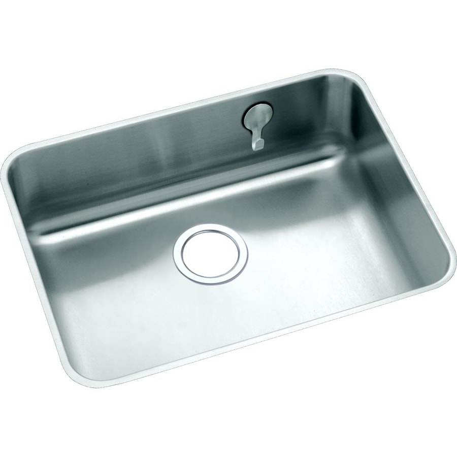 Elkay Gourmet 18.25-in x 23.5-in Lustrous Highlighted Satin Single-Basin Undermount Residential Kitchen Sink