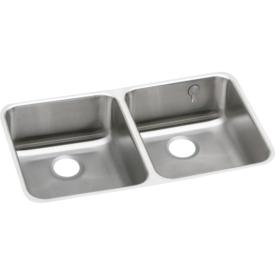 Elkay Gourmet 18.5-in x 30.75-in Stainless Steel Double-Basin Undermount Residential Kitchen Sink