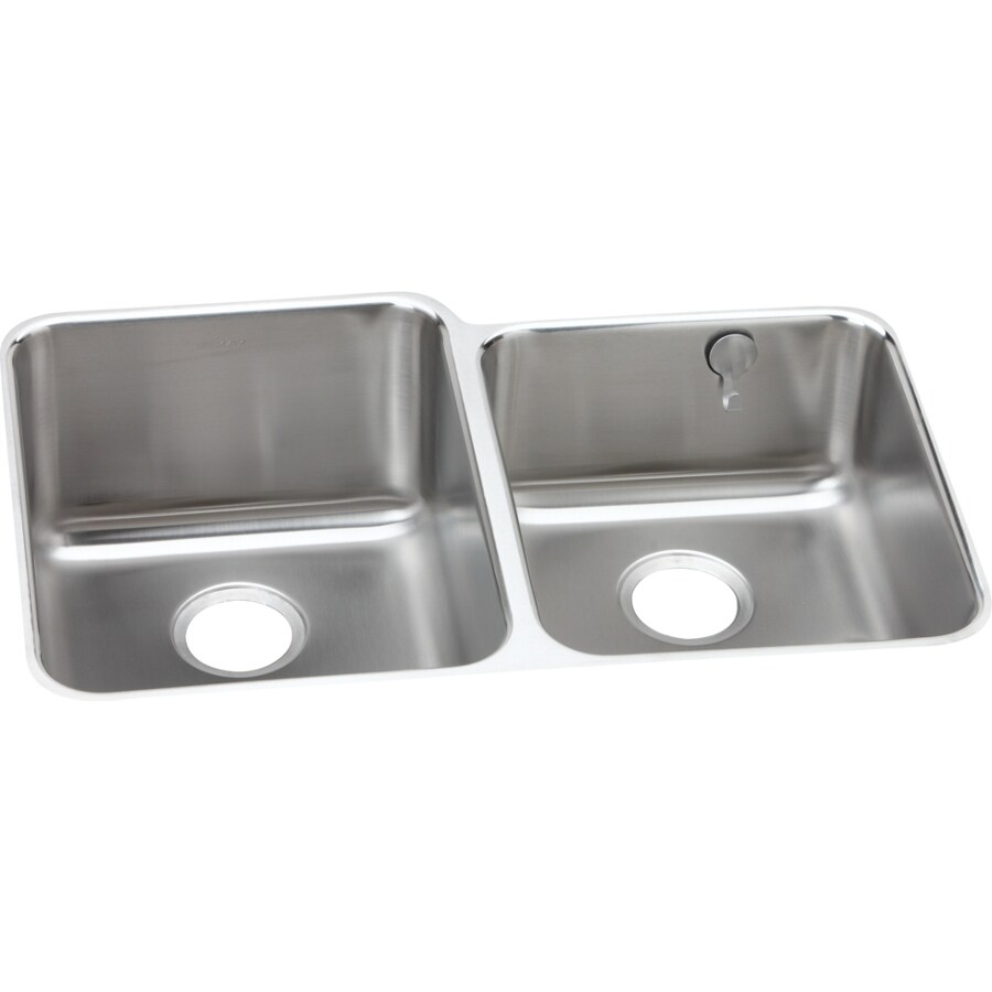 Elkay Gourmet 20.5-in x 31.25-in Double-Basin Stainless Steel Undermount Residential Kitchen Sink
