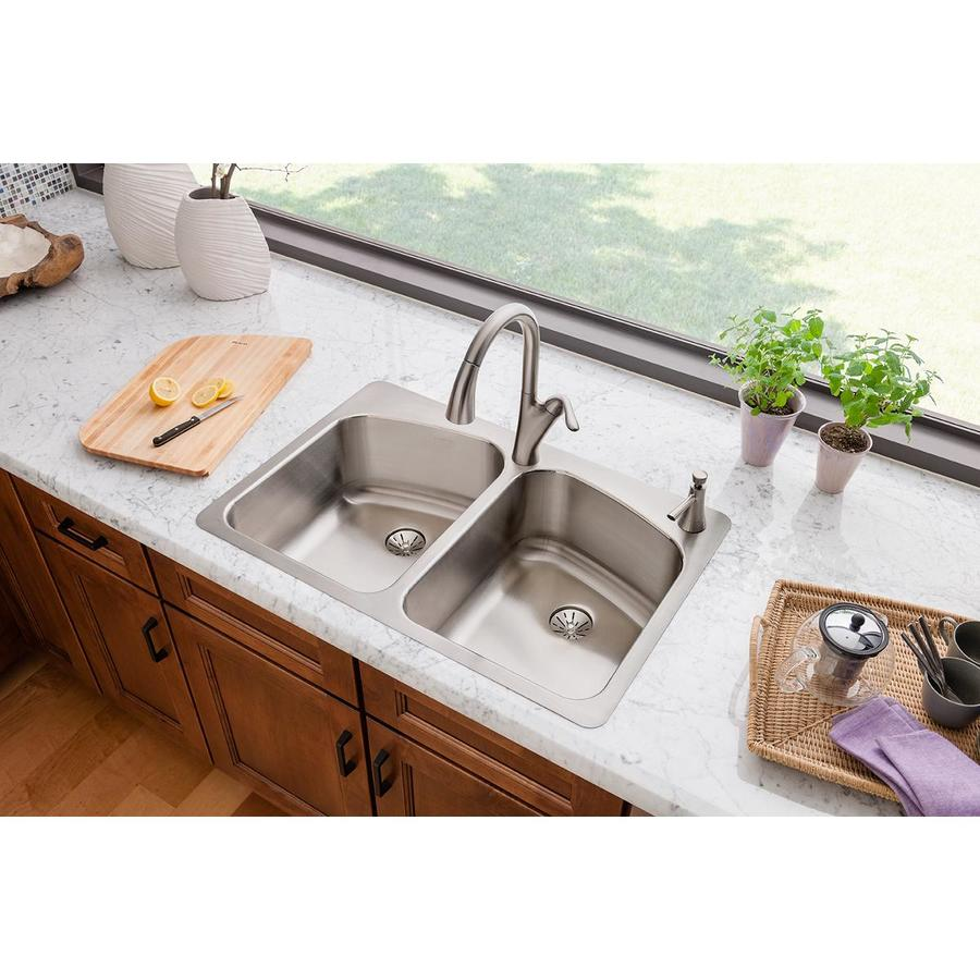 Elkay Harmony 22-in x 33-in Lustrous Highlighted Satin Double-Basin Drop-in or Undermount 2-Hole Residential Kitchen Sink