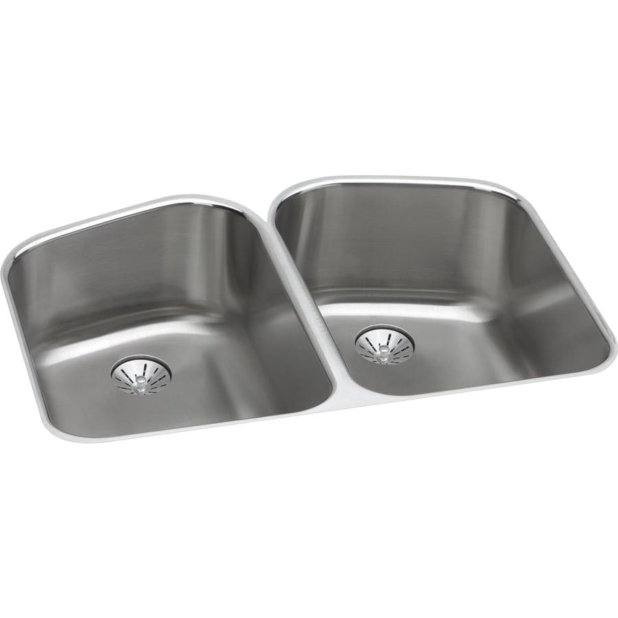 Elkay Harmony 21.69-in x 32.75-in Stainless Steel Double-Basin Undermount Residential Kitchen Sink
