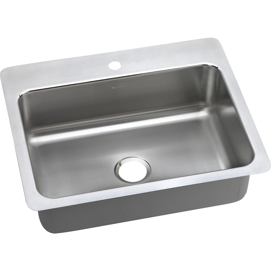 Elkay Gourmet 22-in x 27-in Premium Highlighted Satin Single-Basin Drop-in or Undermount 1-Hole Residential Kitchen Sink