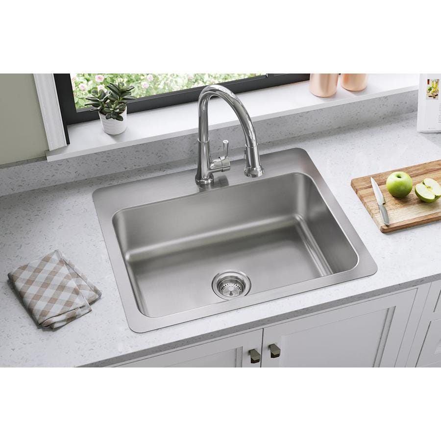 Elkay Gourmet 22-in x 27-in Elite Satin Single-Basin Drop-in or Undermount 1-Hole Residential Kitchen Sink