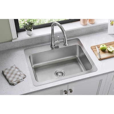 Gourmet 27-in x 22-in Elite Satin Single Bowl Drop-In or Undermount 1-Hole  Residential Kitchen Sink