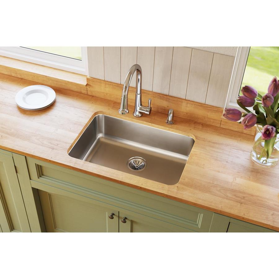 Elkay Gourmet 18.5-in x 26.5-in Stainless Steel Single-Basin-Basin Stainless Steel Undermount (Customizable)-Hole Residential Kitchen Sink