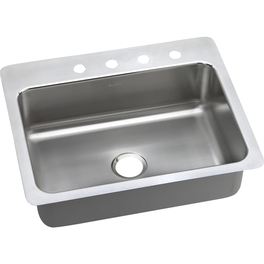 Elkay Gourmet 22-in x 27-in Lustrous Satin Single-Basin Stainless Steel Drop-in or Undermount 4-Hole Residential Kitchen Sink