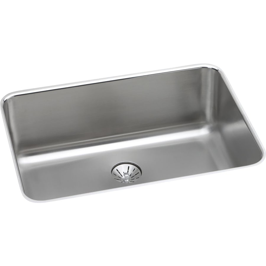 Elkay Gourmet 18.5-in x 26.5-in Lustrous Highlighted Satin Single-Basin Stainless Steel Undermount Residential Kitchen Sink