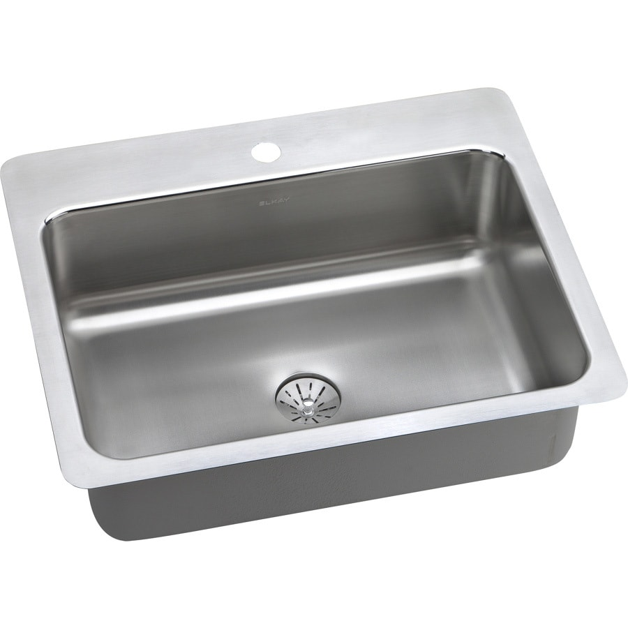 Elkay Gourmet 22-in x 27-in Lustrous Satin Single-Basin Stainless Steel Drop-in or Undermount 1-Hole Residential Kitchen Sink