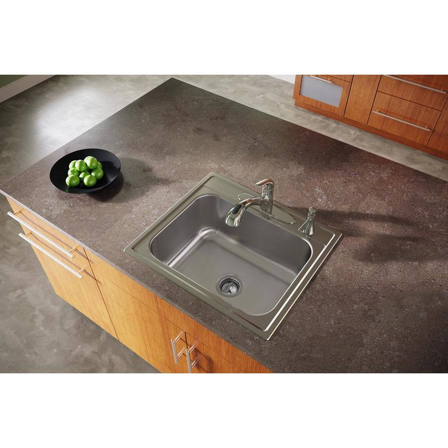 Elkay Dayton 22-in x 25-in Premium Highlighted Satin Single-Basin Stainless Steel Drop-in 4-Hole Residential Kitchen Sink