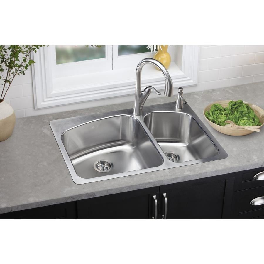 Elkay Gourmet 22-in x 33-in Lustrous Satin Double-Basin Stainless Steel Drop-in or Undermount 2-Hole Residential Kitchen Sink