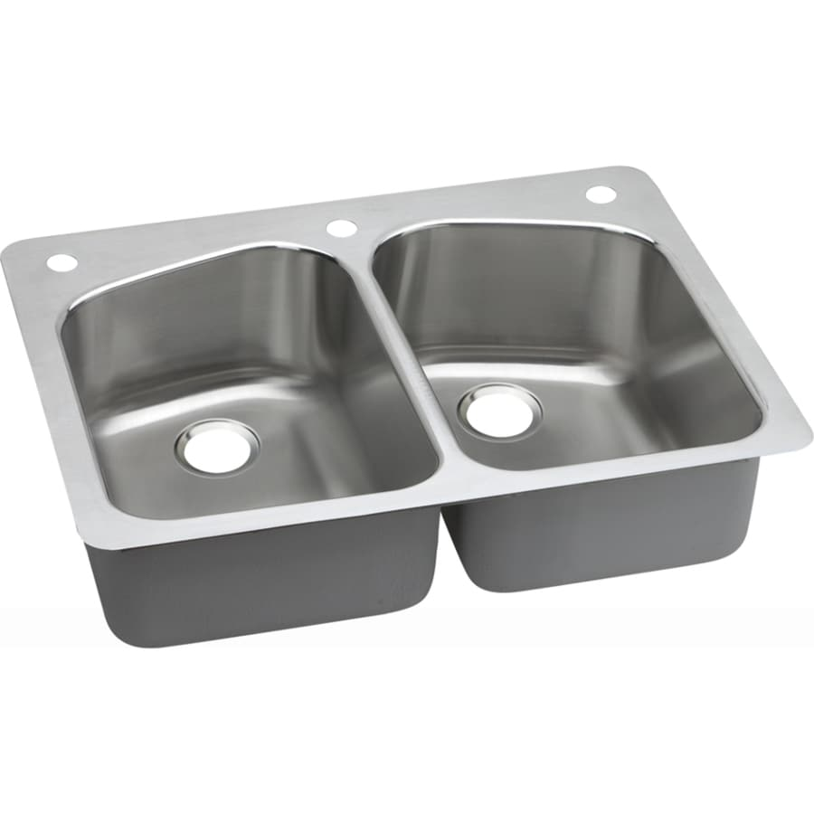 Elkay Gourmet 22-in x 33-in Lustertone Double-Basin Stainless Steel Drop-in or Undermount 1-Hole Residential Kitchen Sink