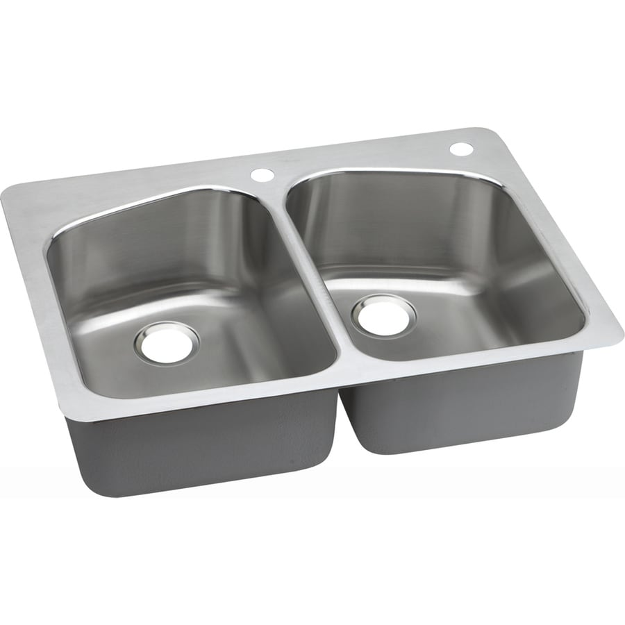 Shop Elkay Gourmet 22 In X 33 In Lustrous Highlighted Satin Double Basin Stainless Steel Drop In