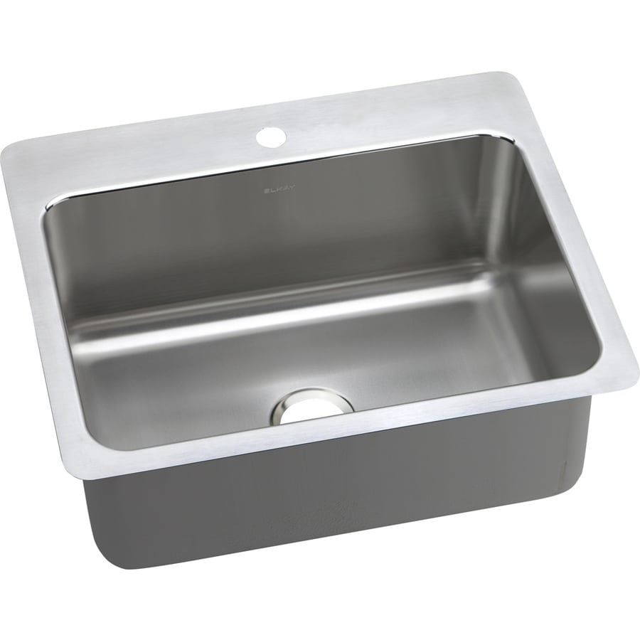 Elkay Gourmet 22-in x 27-in Single-Basin Stainless Steel Drop-in or Undermount 1-Hole Residential Kitchen Sink