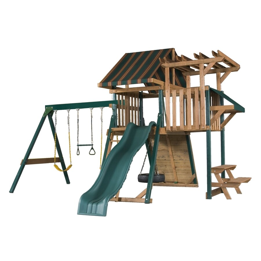 Heartland Playsets Captain's Loft C Residential Wood Playset with Swings
