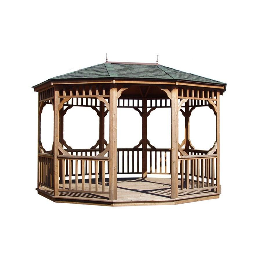 Heartland Brown/Tan Cedar Oval Permanent Gazebo (Exterior: 14.2-ft x 10.4-ft; Foundation: 13.5-ft x 9.8 Feet)