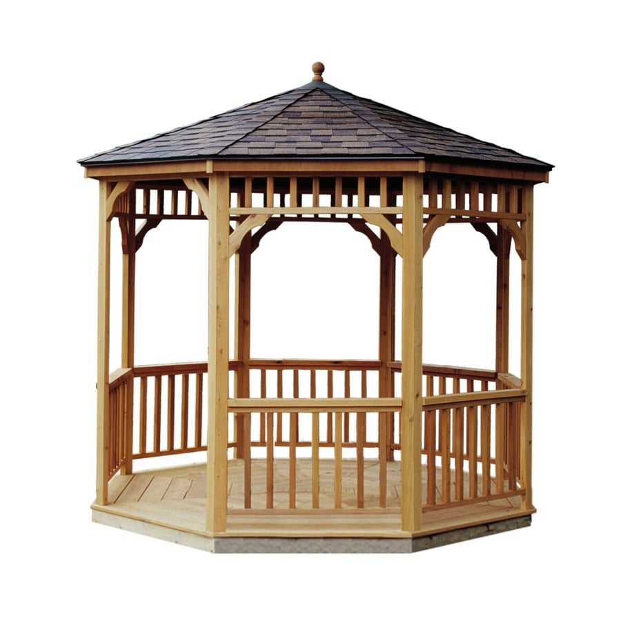 Heartland Cedar Round Permanent Gazebo (Exterior: 9.6-ft x 9.6-ft; Foundation: 9.6-ft x 9.6 Feet)