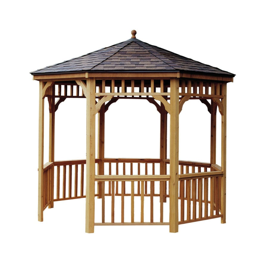 Heartland Brown Cedar Round Gazebo (Exterior: 9.6-ft x 9.6-ft; Foundation: 9-ft x 9-ft)