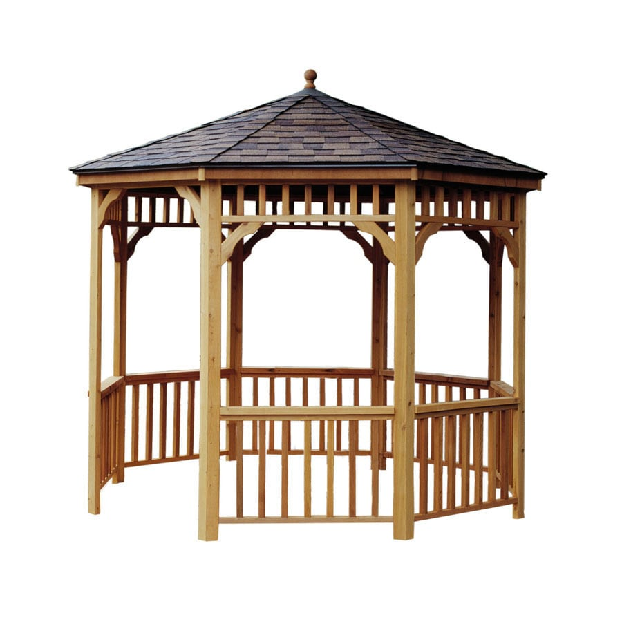 Heartland Seaside Brown/Tan Wood Round  Gazebo (Exterior: 11.2-ft x 11.2-ft; Foundation: 11.2-ft x 11.2-ft)