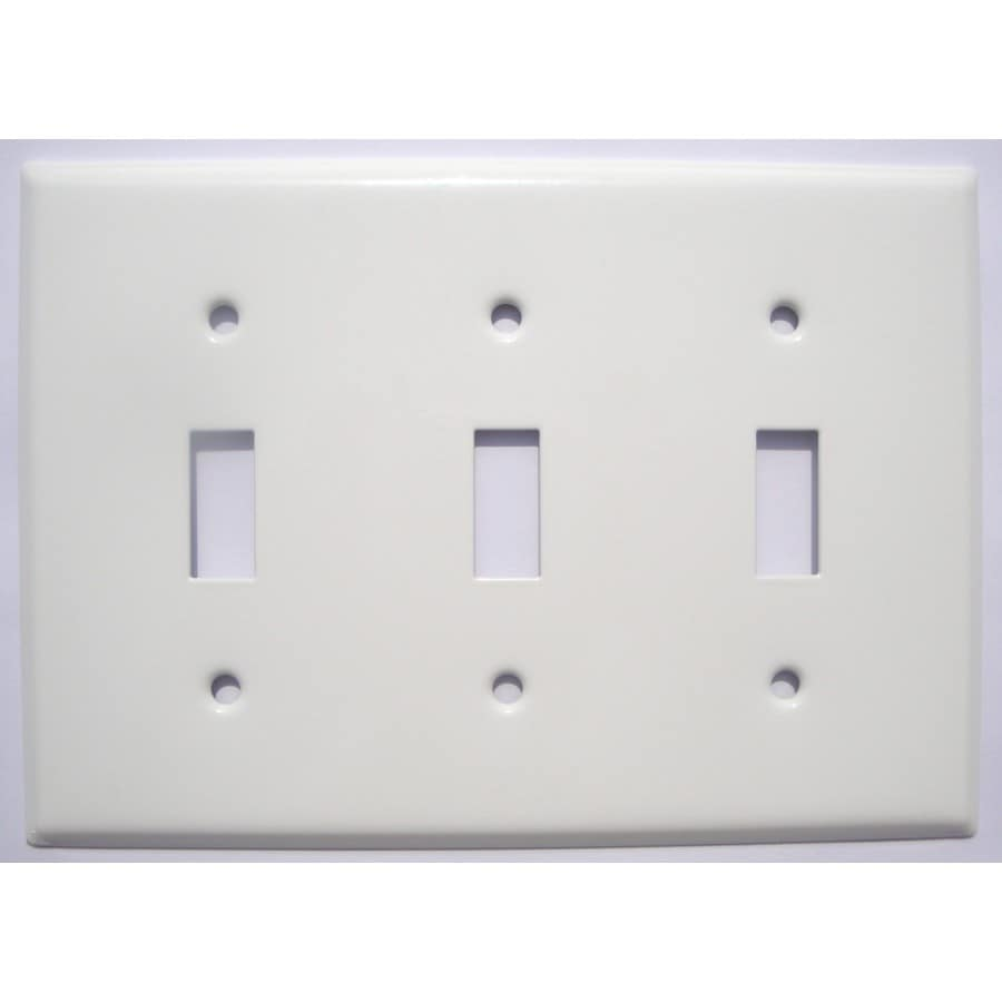 Mulberry 3-Gang White Toggle Wall Plate