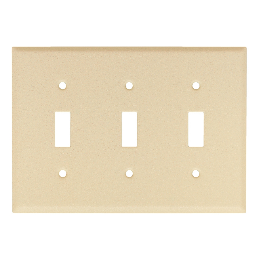 Mulberry 3-Gang Wrinkle Ivory Toggle Wall Plate