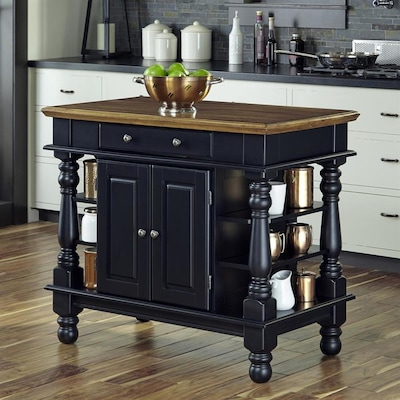 Home Styles Black Farmhouse Kitchen Island at Lowes.com