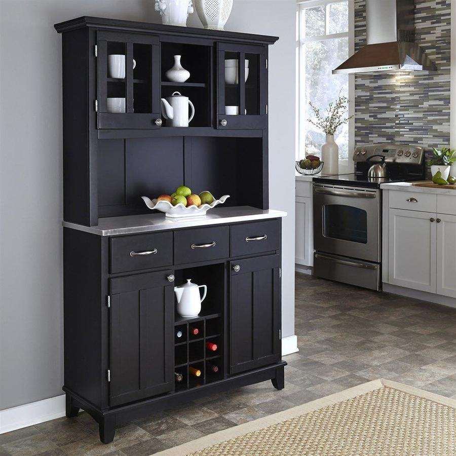 Home Styles Black Stainless China Cabinet With Wine